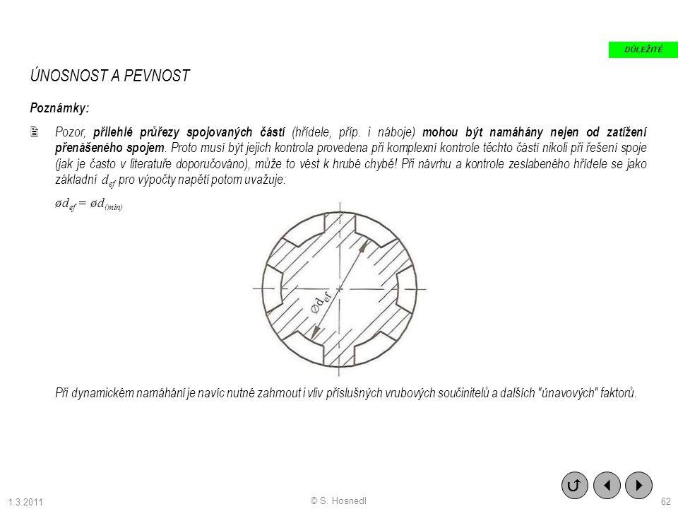 ÚNOSNOST A PEVNOST Poznámky:  Pozor, přilehlé průřezy spojovaných částí (hřídele, příp. i náboje) mohou být namáhány nejen od zatížení přenášeného sp