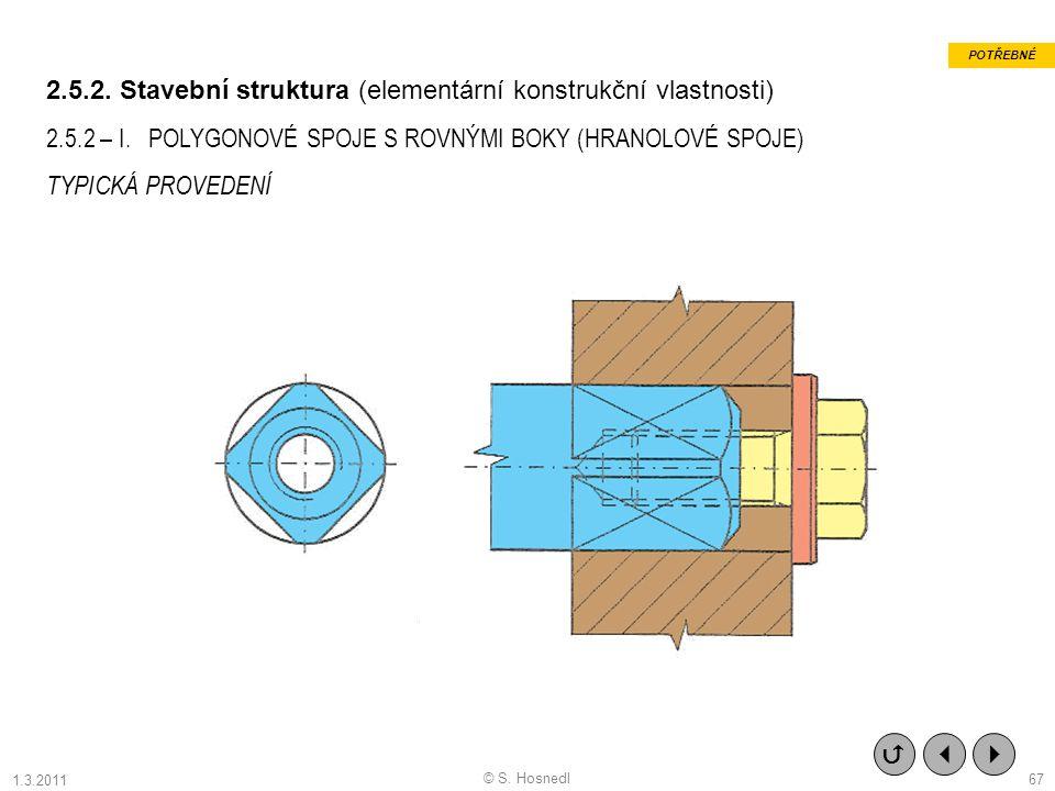 2.5.2. Stavební struktura (elementární konstrukční vlastnosti) 2.5.2 – I. POLYGONOVÉ SPOJE S ROVNÝMI BOKY (HRANOLOVÉ SPOJE) TYPICKÁ PROVEDENÍ    PO
