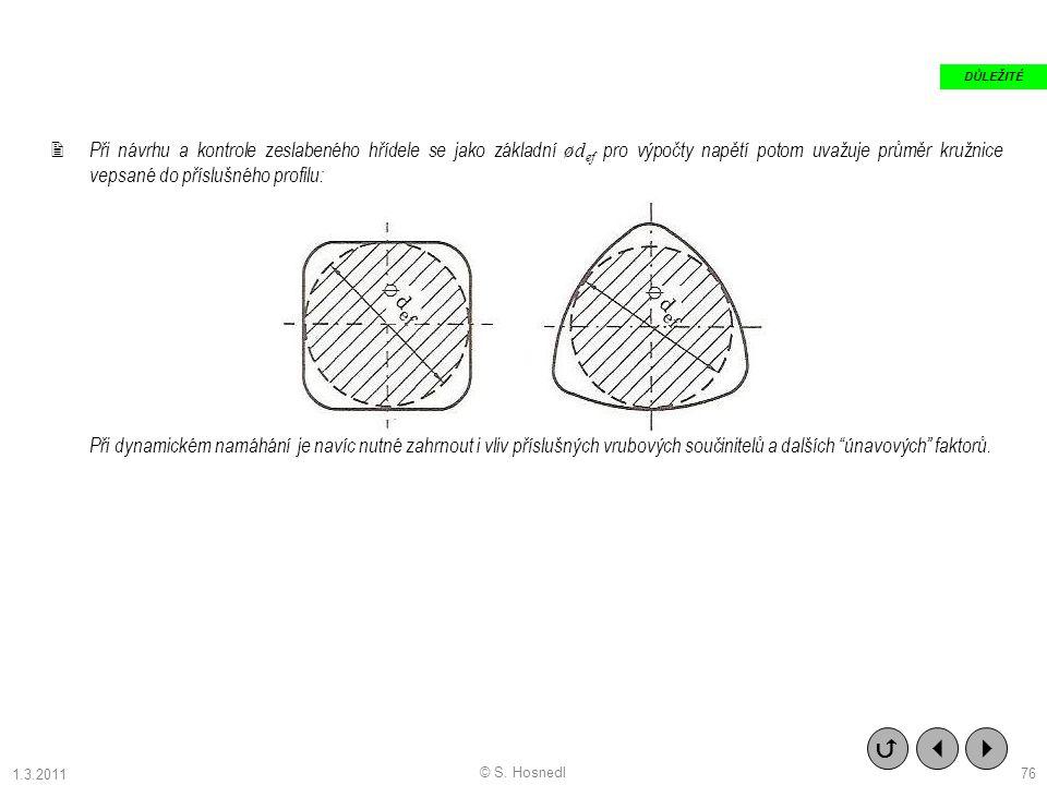  Při návrhu a kontrole zeslabeného hřídele se jako základní ød ef pro výpočty napětí potom uvažuje průměr kružnice vepsané do příslušného profilu: Př