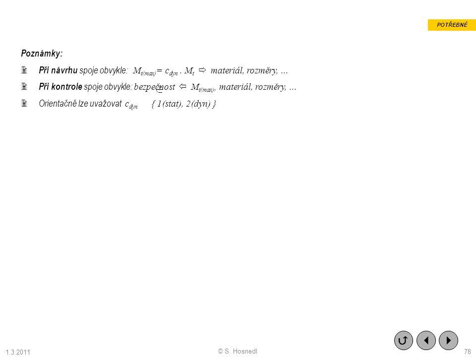 Poznámky:  Při návrhu spoje obvykle: M t(max) = c dyn. M t  materiál, rozměry,...  Při kontrole spoje obvykle: bezpečnost  M t(max), materiál, roz
