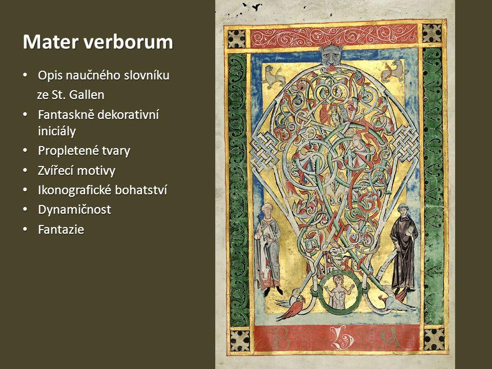 Mater verborum Opis naučného slovníku Opis naučného slovníku ze St. Gallen Fantaskně dekorativní iniciály Fantaskně dekorativní iniciály Propletené tv