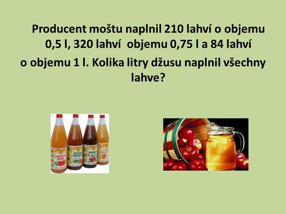 Producent moštu naplnil 210 lahví o objemu 0,5 l, 320 lahví objemu 0,75 l a 84 lahví o objemu 1 l.