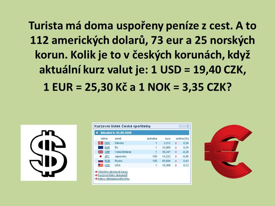 Turista má doma uspořeny peníze z cest. A to 112 amerických dolarů, 73 eur a 25 norských korun.