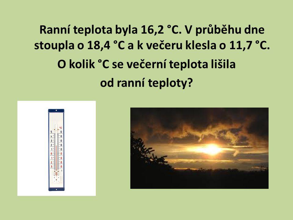 Ranní teplota byla 16,2 °C. V průběhu dne stoupla o 18,4 °C a k večeru klesla o 11,7 °C.