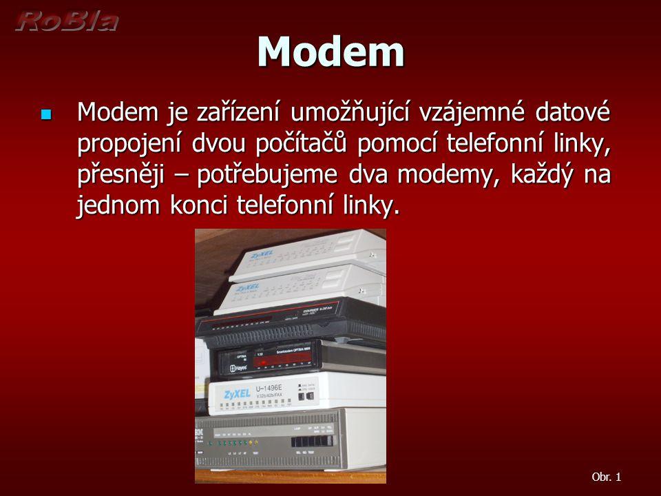 Princip činnosti modemu Slovo modem je složeninou ze slov: Slovo modem je složeninou ze slov: MODulátor MODulátor DEModulátor DEModulátor Je to zařízení, které převádí digitální data (bity) produkovaná počítačem na data analogová a posílá je po telefonní lince jinému modemu, který zpětně převede data z analogové podoby do podoby digitální.
