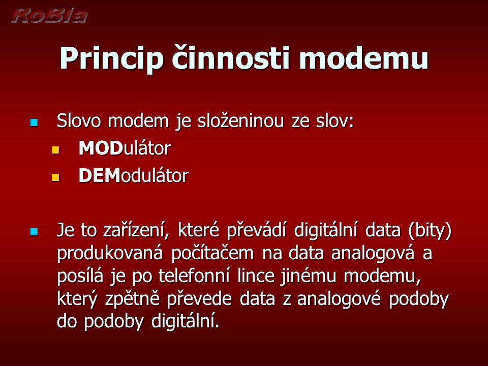 Princip činnosti modemu Slovo modem je složeninou ze slov: Slovo modem je složeninou ze slov: MODulátor MODulátor DEModulátor DEModulátor Je to zaříze