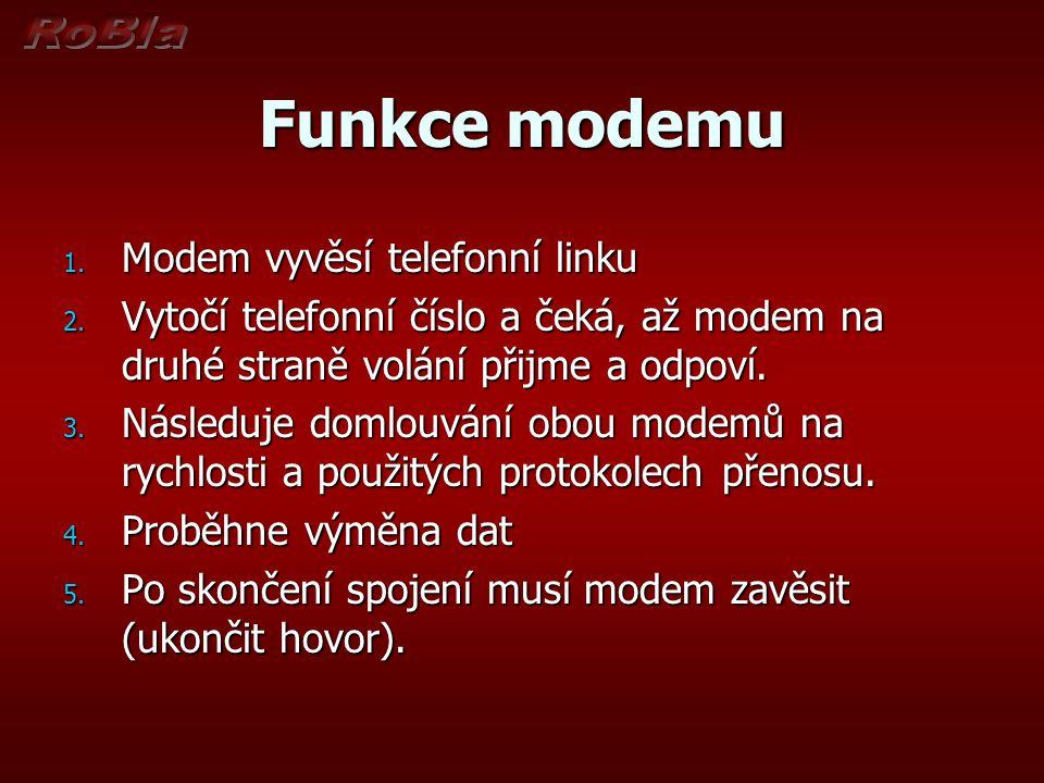 Funkce modemu 1. Modem vyvěsí telefonní linku 2. Vytočí telefonní číslo a čeká, až modem na druhé straně volání přijme a odpoví. 3. Následuje domlouvá