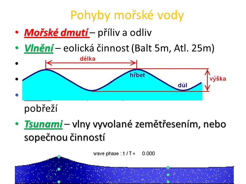 Mořské dmutí Mořské dmutí – příliv a odliv Vlnění Vlnění – eolická činnost (Balt 5m, Atl. 25m) Kruhové dráhy – orbity Hřbet a vpadlina (důl) Příboj Př