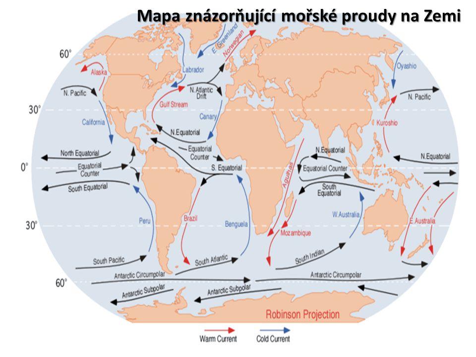 Mapa znázorňující mořské proudy na Zemi