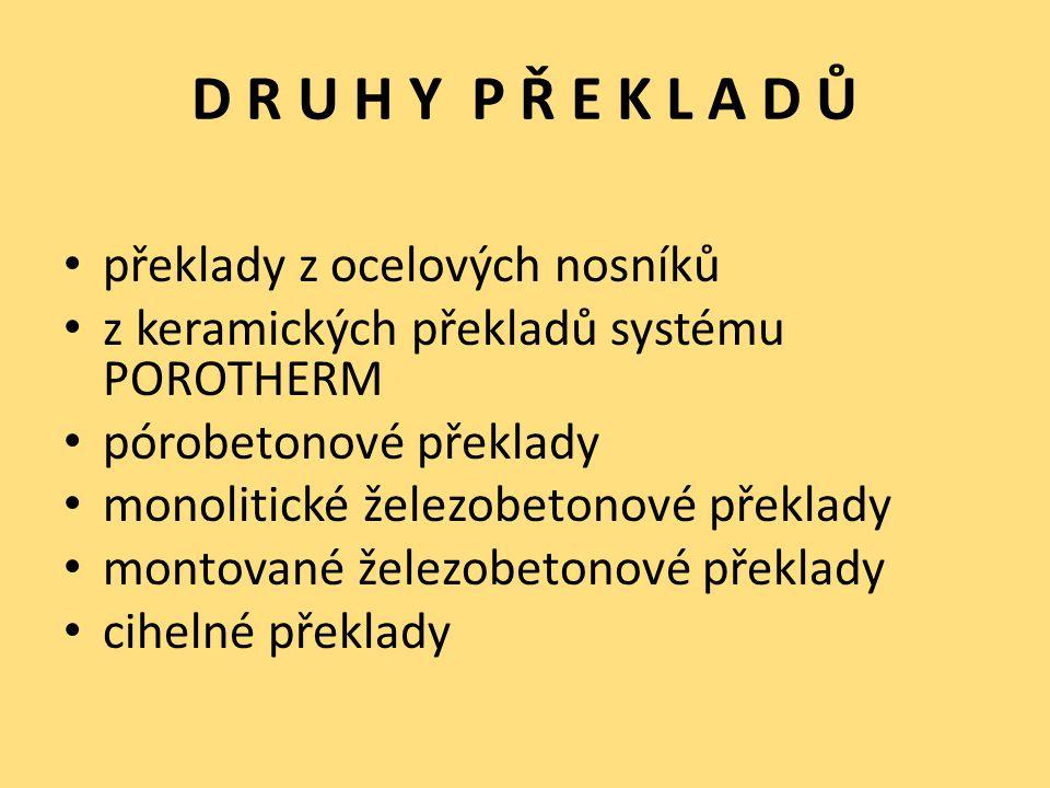 D R U H Y P Ř E K L A D Ů překlady z ocelových nosníků z keramických překladů systému POROTHERM pórobetonové překlady monolitické železobetonové překl