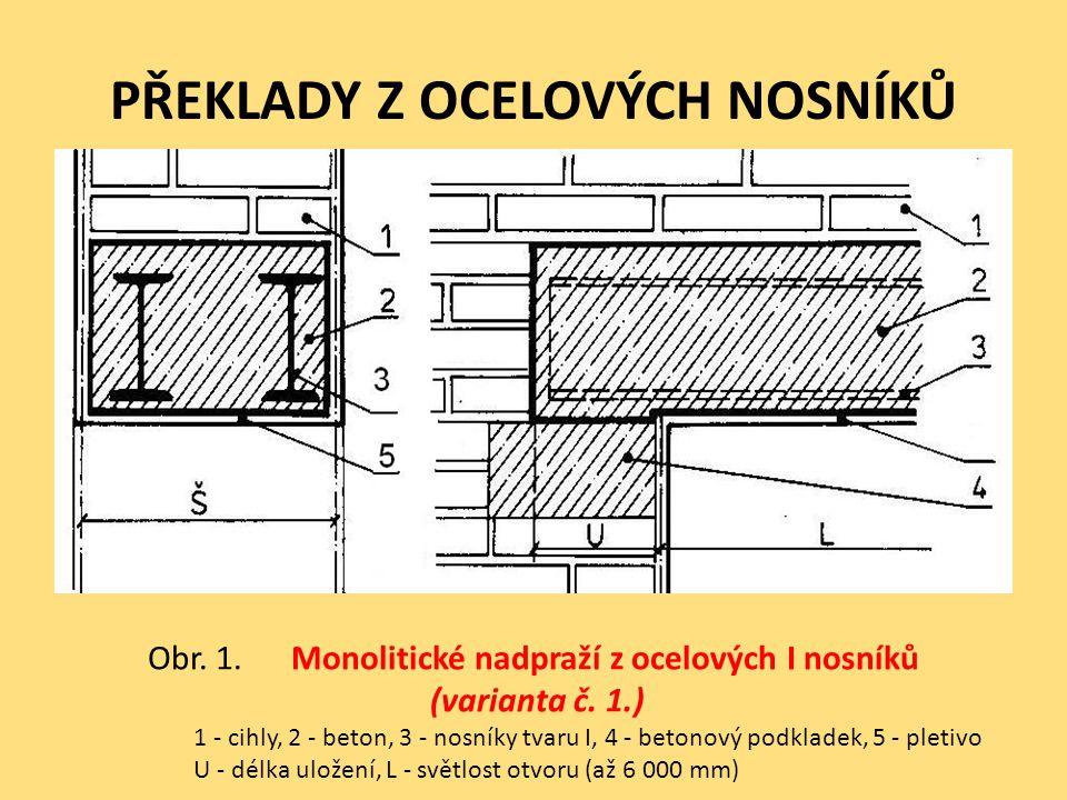 PŘEKLADY Z OCELOVÝCH NOSNÍKŮ Obr. 1. Monolitické nadpraží z ocelových I nosníků (varianta č. 1.) 1 - cihly, 2 - beton, 3 - nosníky tvaru I, 4 - betono