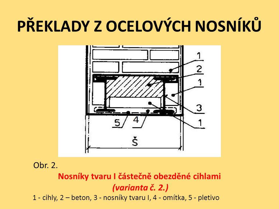 PŘEKLADY Z OCELOVÝCH NOSNÍKŮ Obr. 2. Nosníky tvaru I částečně obezděné cihlami (varianta č. 2.) 1 - cihly, 2 – beton, 3 - nosníky tvaru I, 4 - omítka,