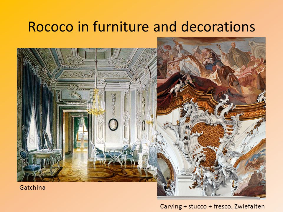 Rococo in furniture and decorations Carving + stucco + fresco, Zwiefalten Gatchina