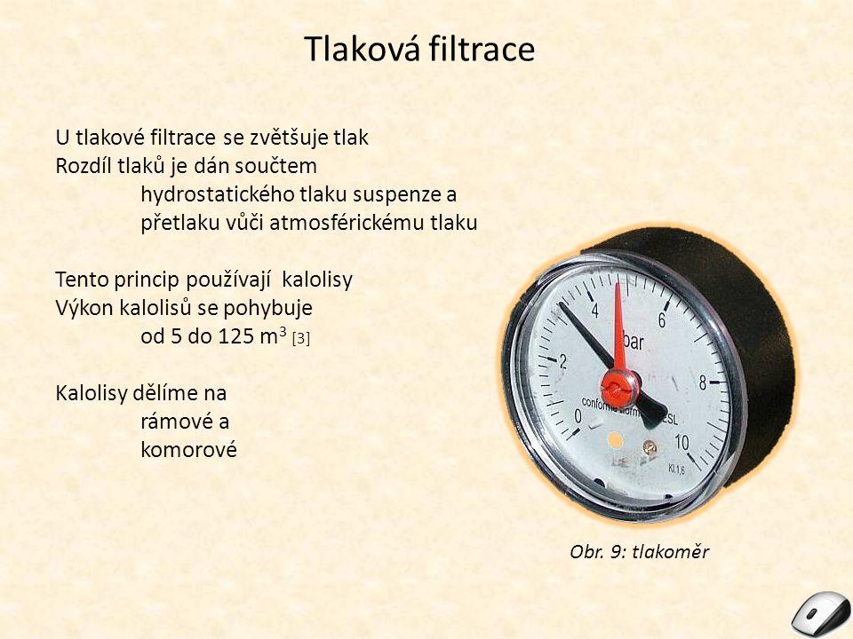 Tlaková filtrace U tlakové filtrace se zvětšuje tlak Rozdíl tlaků je dán součtem hydrostatického tlaku suspenze a přetlaku vůči atmosférickému tlaku T