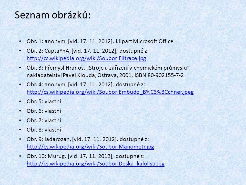 Seznam obrázků: Obr. 1: anonym, [vid. 17. 11. 2012], klipart Microsoft Office Obr. 2: CaptaYnA, [vid. 17. 11. 2012], dostupné z: http://cs.wikipedia.o