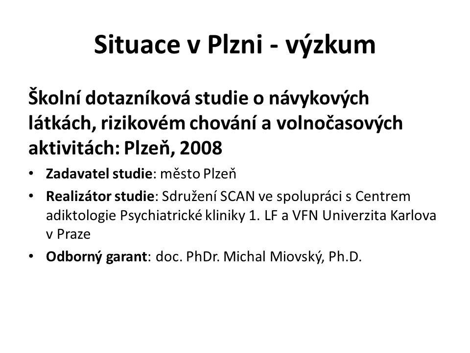 Situace v Plzni - výzkum Školní dotazníková studie o návykových látkách, rizikovém chování a volnočasových aktivitách: Plzeň, 2008 Zadavatel studie: m
