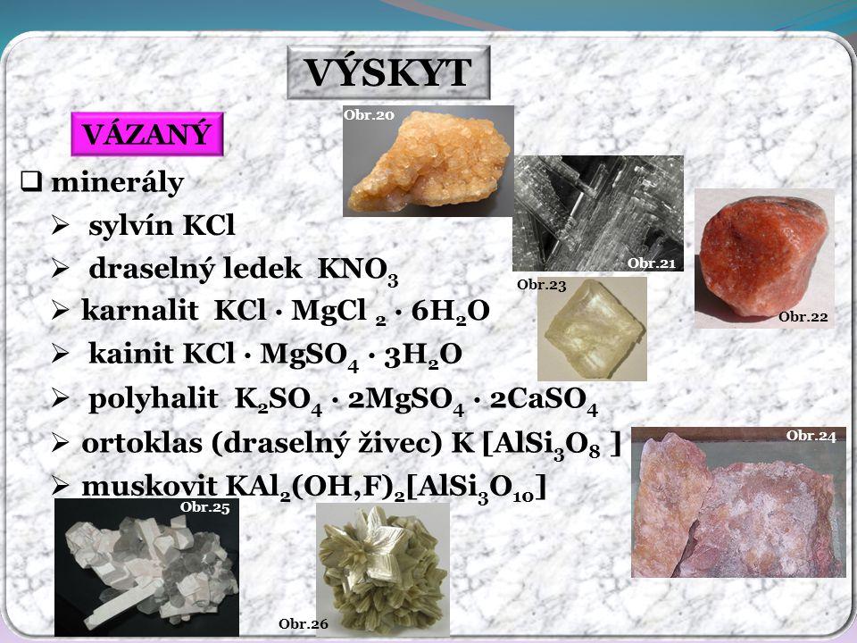 Obr.24 Obr.26 Obr.25 Obr.23 Obr.22 Obr.21 Obr.20 VÝSKYT VÁZANÝ  minerály  sylvín KCl  draselný ledek KNO 3  karnalit KCl · MgCl 2 · 6H 2 O  kaini