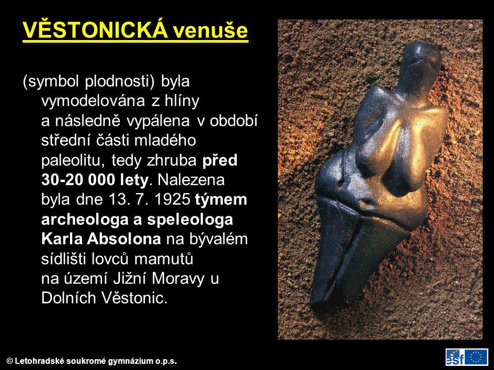 © Letohradské soukromé gymnázium o.p.s. VĚSTONICKÁ venuše (symbol plodnosti) byla vymodelována z hlíny a následně vypálena v období střední části mlad