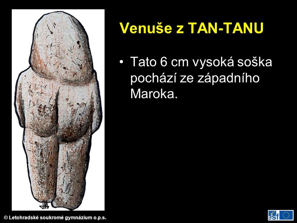 © Letohradské soukromé gymnázium o.p.s. Venuše z TAN-TANU Tato 6 cm vysoká soška pochází ze západního Maroka.