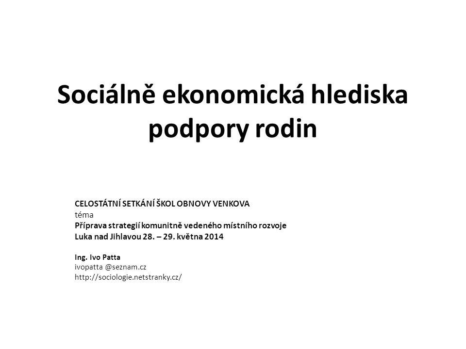 Sociálně ekonomická hlediska podpory rodin CELOSTÁTNÍ SETKÁNÍ ŠKOL OBNOVY VENKOVA téma Příprava strategií komunitně vedeného místního rozvoje Luka nad Jihlavou 28.
