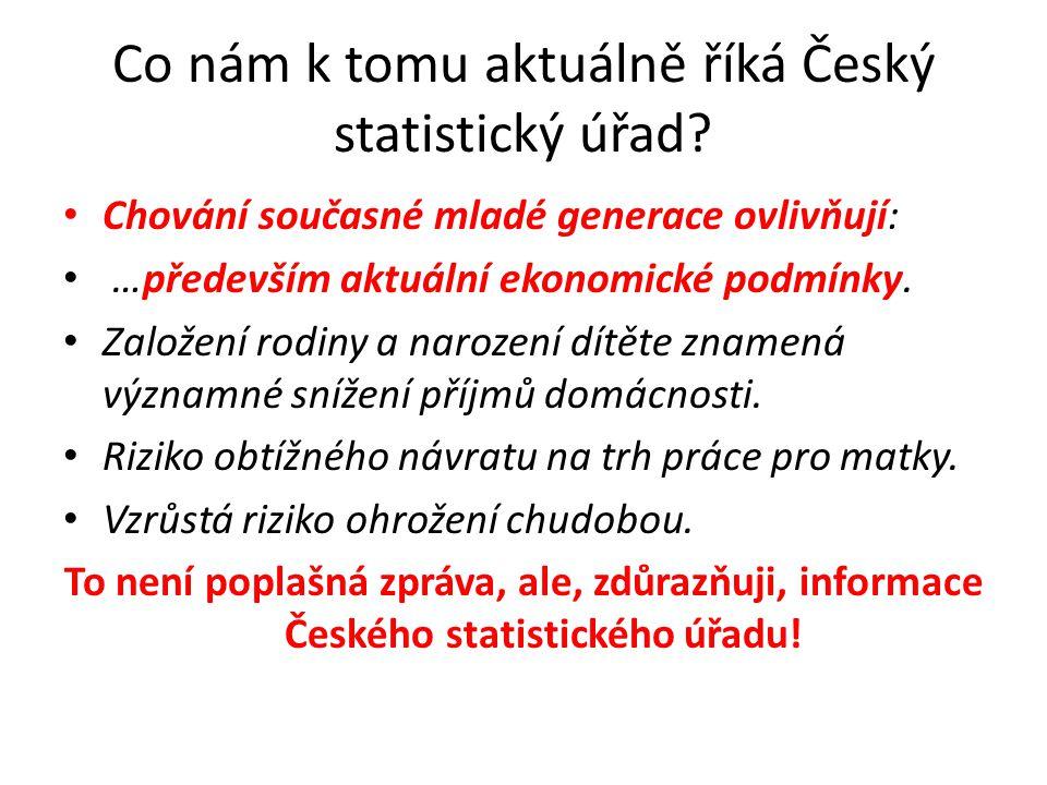Co nám k tomu aktuálně říká Český statistický úřad? Chování současné mladé generace ovlivňují: …především aktuální ekonomické podmínky. Založení rodin