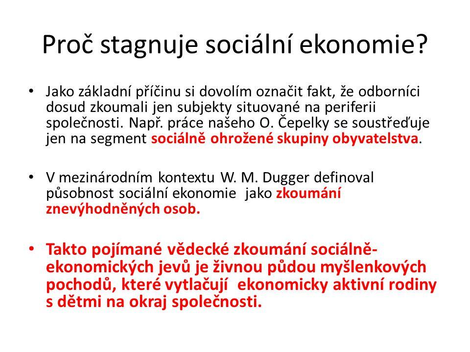 Proč stagnuje sociální ekonomie? Jako základní příčinu si dovolím označit fakt, že odborníci dosud zkoumali jen subjekty situované na periferii společ