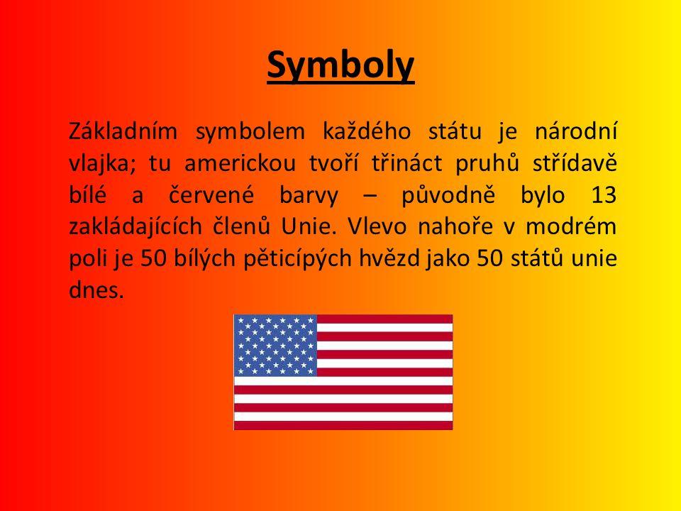Symboly Základním symbolem každého státu je národní vlajka; tu americkou tvoří třináct pruhů střídavě bílé a červené barvy – původně bylo 13 zakládají