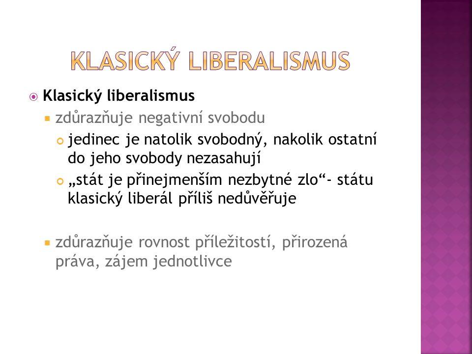 """ Klasický liberalismus  zdůrazňuje negativní svobodu jedinec je natolik svobodný, nakolik ostatní do jeho svobody nezasahují """"stát je přinejmenším n"""