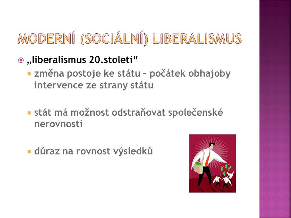  Cíl liberalismu  důraz na individuální svobodu  ochrana společnosti před zásahy vlády  Program liberálů  snižování nezaměstnanosti  odstraňování překážek podnikání  snižování daní  Ekonomové, zástupci neoliberalismu  Milton Friedman (NC 1976)  Friedrich Hayek (NC 1974)