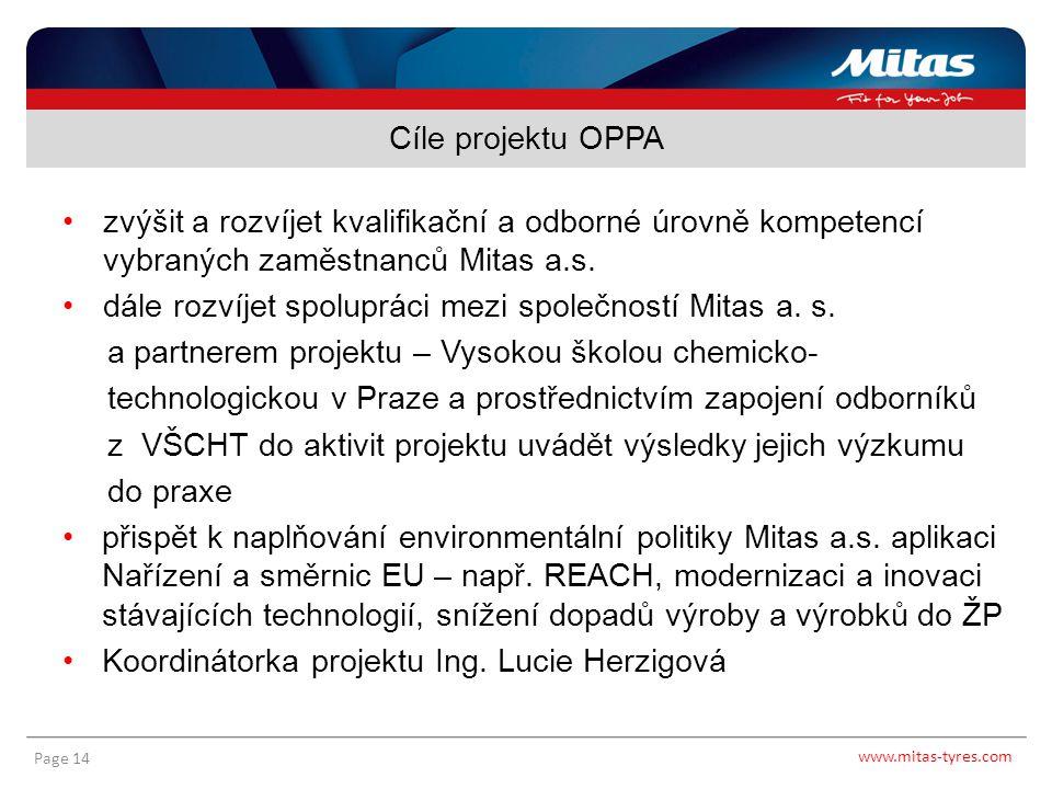 www.mitas-tyres.com Page 14 zvýšit a rozvíjet kvalifikační a odborné úrovně kompetencí vybraných zaměstnanců Mitas a.s. dále rozvíjet spolupráci mezi