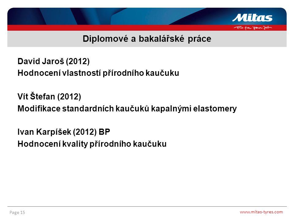 www.mitas-tyres.com Page 15 David Jaroš (2012) Hodnocení vlastností přírodního kaučuku Vít Štefan (2012) Modifikace standardních kaučuků kapalnými ela
