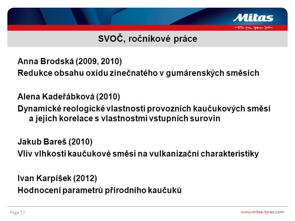 www.mitas-tyres.com Page 17 Anna Brodská (2009, 2010) Redukce obsahu oxidu zinečnatého v gumárenských směsích Alena Kadeřábková (2010) Dynamické reolo