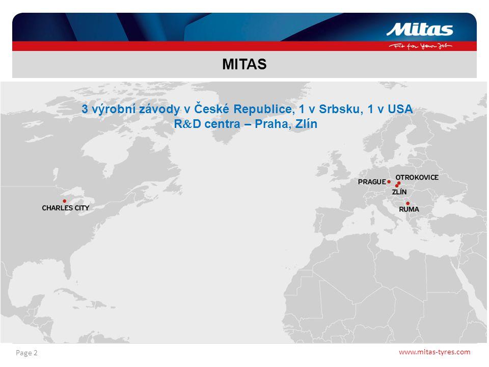 www.mitas-tyres.com Page 2 MITAS 3 výrobní závody v České Republice, 1 v Srbsku, 1 v USA R  D centra – Praha, Zlín