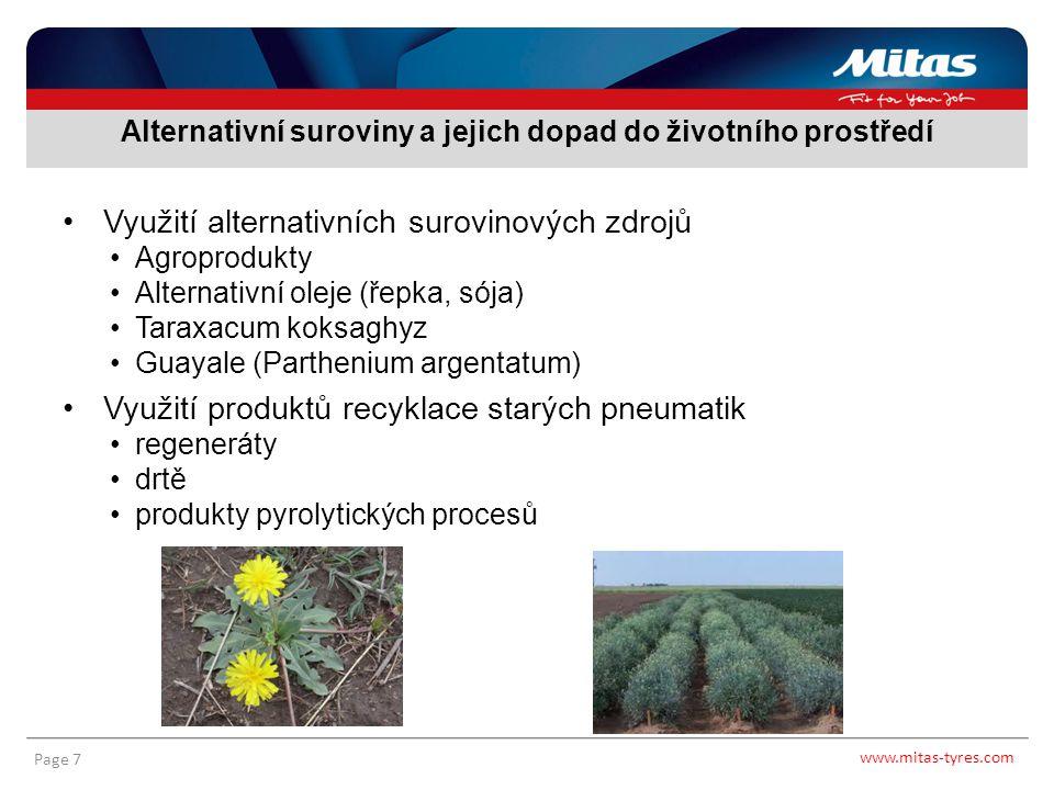 www.mitas-tyres.com Page 7 Využití alternativních surovinových zdrojů Agroprodukty Alternativní oleje (řepka, sója) Taraxacum koksaghyz Guayale (Parth