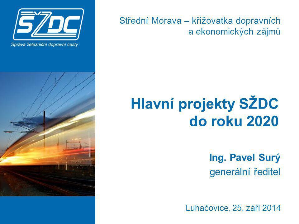 Luhačovice, 25. září 2014 Hlavní projekty SŽDC do roku 2020 Ing. Pavel Surý generální ředitel Střední Morava – křižovatka dopravních a ekonomických zá