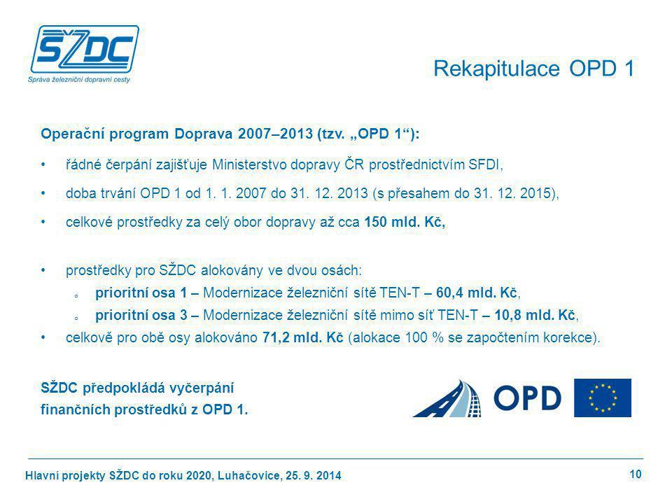"""Hlavní projekty SŽDC do roku 2020, Luhačovice, 25. 9. 2014 Operační program Doprava 2007–2013 (tzv. """"OPD 1""""): řádné čerpání zajišťuje Ministerstvo dop"""