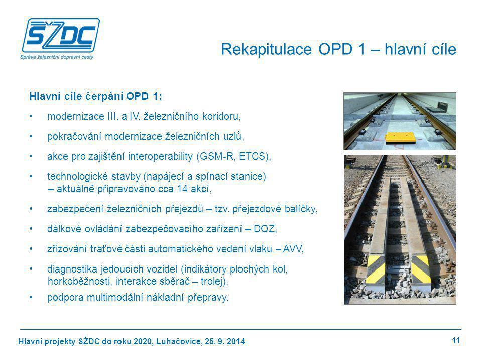 Hlavní projekty SŽDC do roku 2020, Luhačovice, 25. 9. 2014 Hlavní cíle čerpání OPD 1: modernizace III. a IV. železničního koridoru, pokračování modern