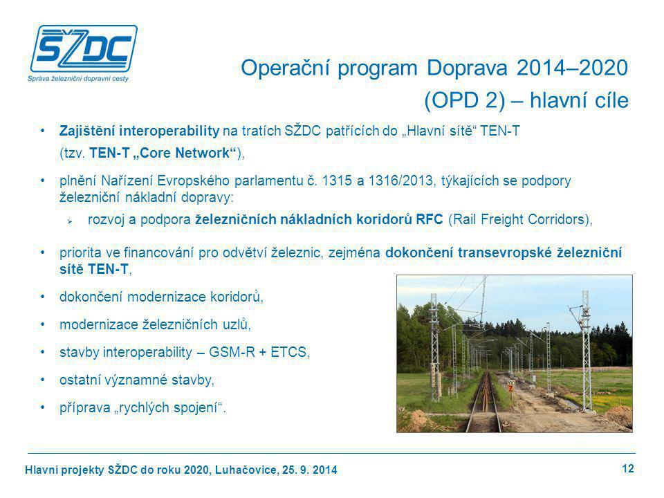 """Hlavní projekty SŽDC do roku 2020, Luhačovice, 25. 9. 2014 Zajištění interoperability na tratích SŽDC patřících do """"Hlavní sítě"""" TEN-T (tzv. TEN-T """"Co"""