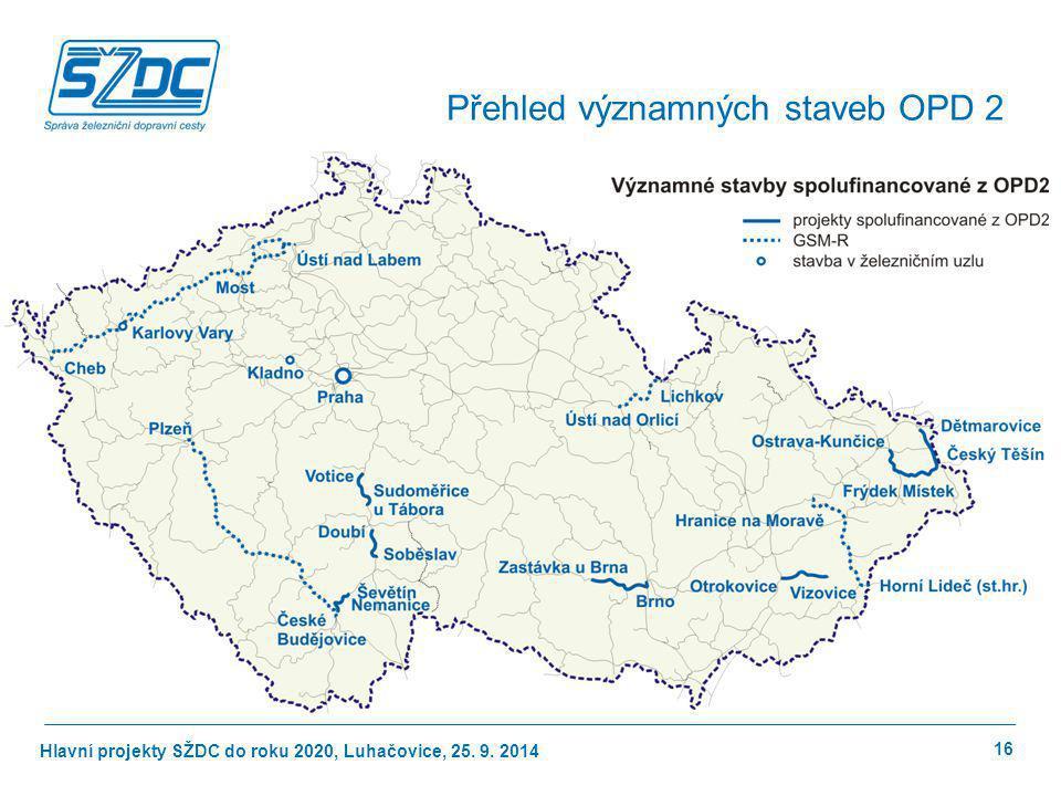 Hlavní projekty SŽDC do roku 2020, Luhačovice, 25. 9. 2014 Přehled významných staveb OPD 2 16