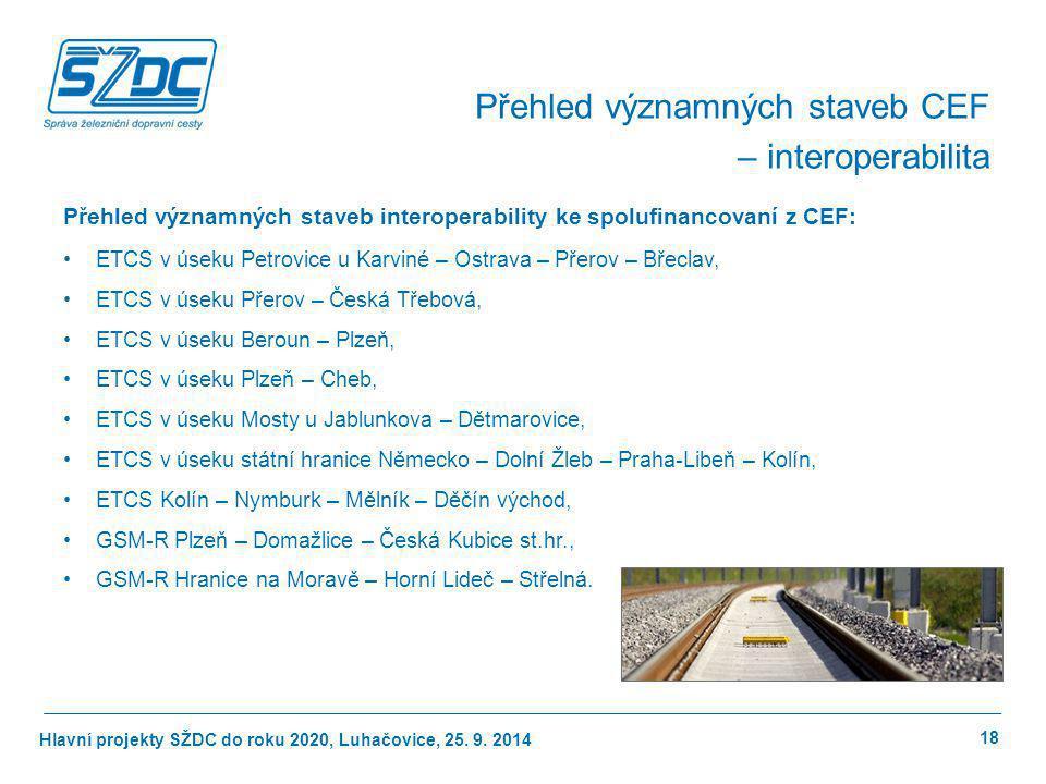 Hlavní projekty SŽDC do roku 2020, Luhačovice, 25. 9. 2014 Přehled významných staveb interoperability ke spolufinancovaní z CEF: ETCS v úseku Petrovic
