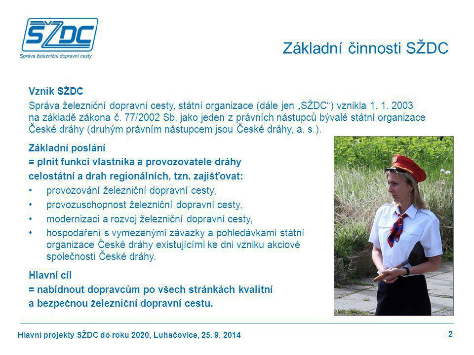 """Hlavní projekty SŽDC do roku 2020, Luhačovice, 25. 9. 2014 Vznik SŽDC Správa železniční dopravní cesty, státní organizace (dále jen """"SŽDC"""") vznikla 1."""