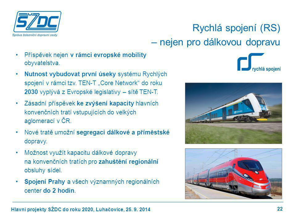 Hlavní projekty SŽDC do roku 2020, Luhačovice, 25. 9. 2014 22 Rychlá spojení (RS) – nejen pro dálkovou dopravu Příspěvek nejen v rámci evropské mobili