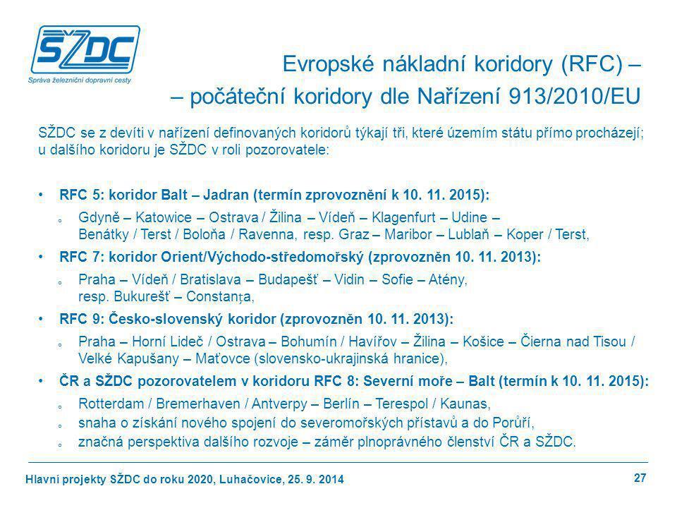 Hlavní projekty SŽDC do roku 2020, Luhačovice, 25. 9. 2014 27 Evropské nákladní koridory (RFC) – – počáteční koridory dle Nařízení 913/2010/EU SŽDC se