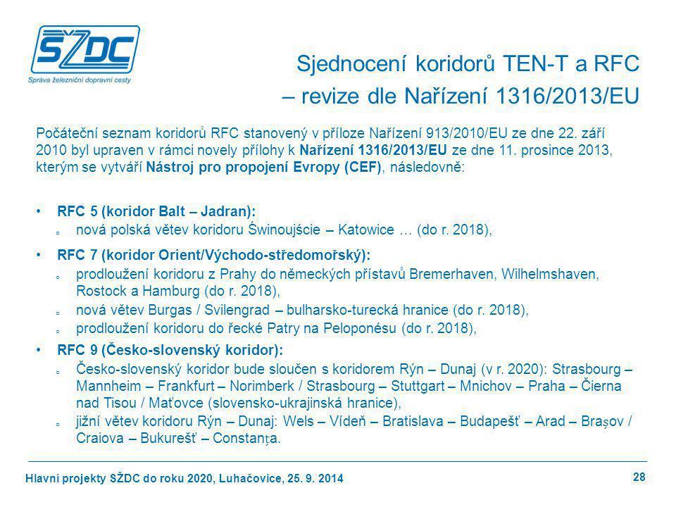 Hlavní projekty SŽDC do roku 2020, Luhačovice, 25. 9. 2014 28 Počáteční seznam koridorů RFC stanovený v příloze Nařízení 913/2010/EU ze dne 22. září 2