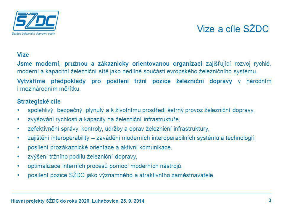 Hlavní projekty SŽDC do roku 2020, Luhačovice, 25. 9. 2014 Vize Jsme moderní, pružnou a zákaznicky orientovanou organizací zajišťující rozvoj rychlé,
