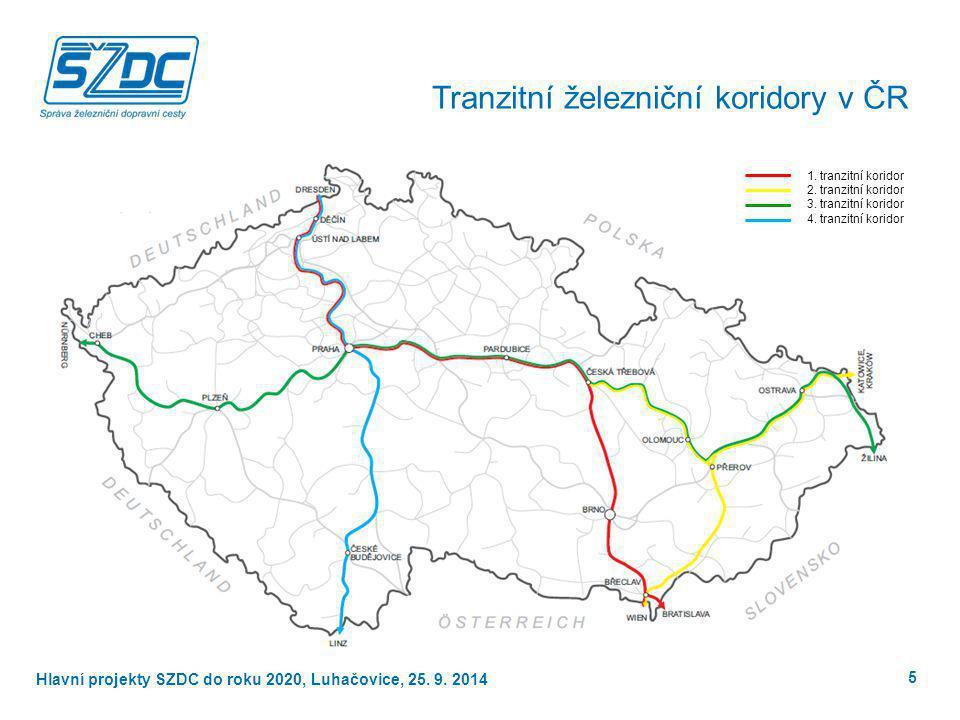 Hlavní projekty SŽDC do roku 2020, Luhačovice, 25. 9. 2014 Tranzitní železniční koridory v ČR 1. tranzitní koridor 2. tranzitní koridor 3. tranzitní k