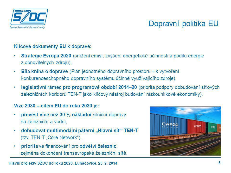 Hlavní projekty SŽDC do roku 2020, Luhačovice, 25. 9. 2014 Klíčové dokumenty EU k dopravě: Strategie Evropa 2020 (snížení emisí, zvýšení energetické ú