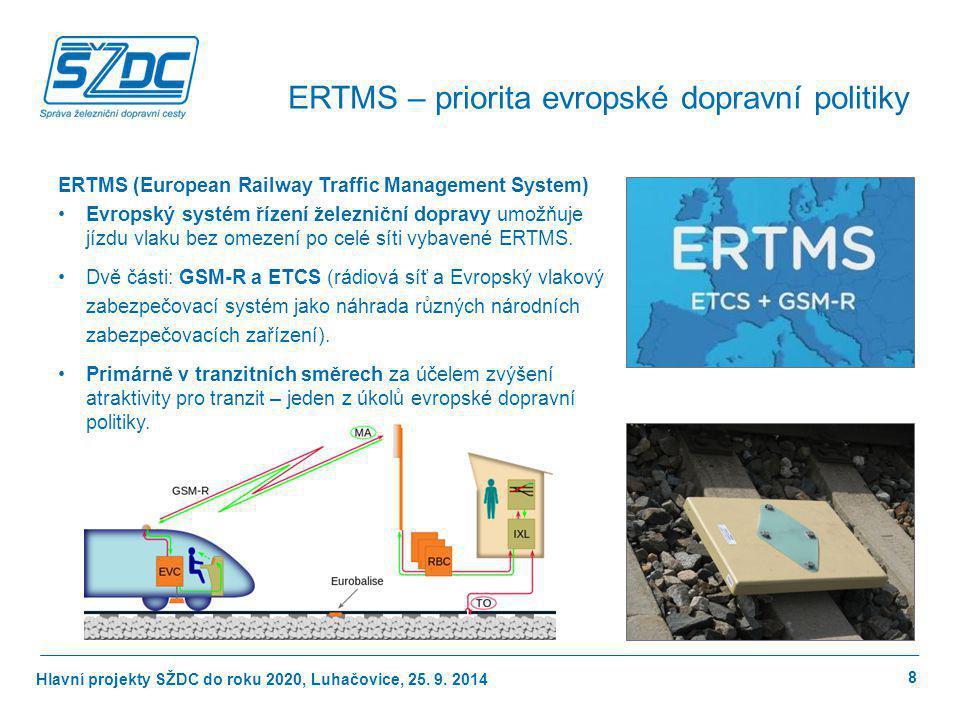 Hlavní projekty SŽDC do roku 2020, Luhačovice, 25. 9. 2014 ERTMS (European Railway Traffic Management System) Evropský systém řízení železniční doprav