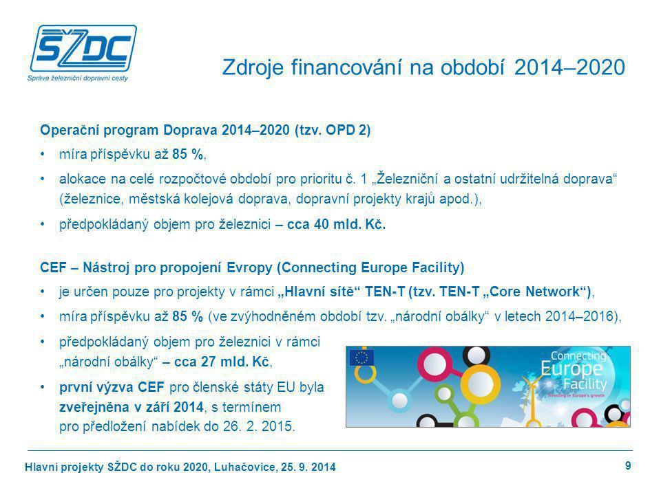 Hlavní projekty SŽDC do roku 2020, Luhačovice, 25. 9. 2014 Operační program Doprava 2014–2020 (tzv. OPD 2) míra příspěvku až 85 %, alokace na celé roz