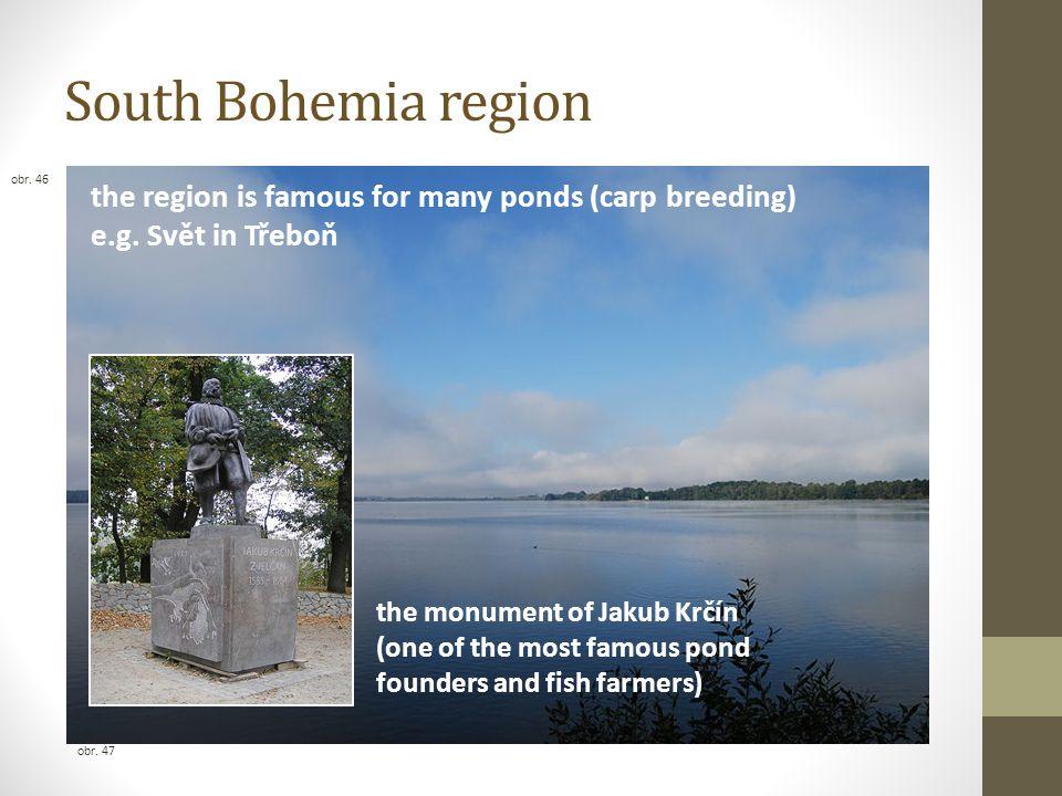 South Bohemia region the region is famous for many ponds (carp breeding) e.g. Svět in Třeboň the monument of Jakub Krčín (one of the most famous pond